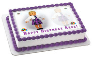 AMERICAN GIRL 2 Edible Birthday Cake Topper OR Cupcake Topper, Decor