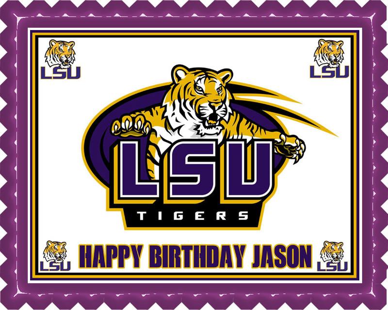 LSU Louisiana State University Edible Birthday Cake Topper
