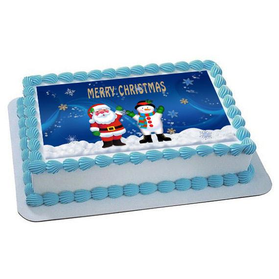 Edible Cake Decorations For Christmas : CHRISTMAS 2 Edible Birthday Cake Topper