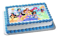 DISNEY PRINCESS Edible Birthday Cake Topper OR Cupcake Topper, Decor