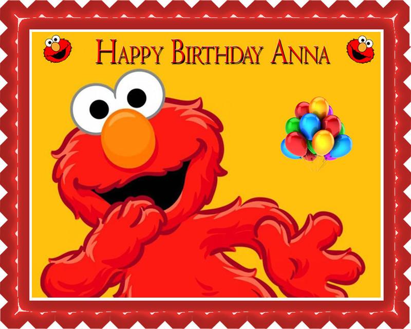 Elmo Birthday Cake Edible Image : Elmo Edible Birthday Cake Topper