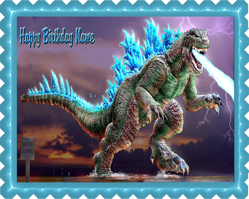 Godzilla 2 Edible Birthday Cake Topper