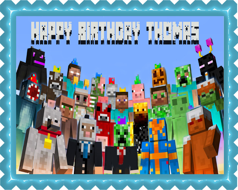 MINECRAFT Characters 5 Edible Birthday Cake Topper