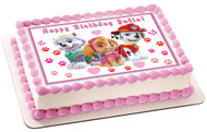 Paw Patrol Girls Edible Birthday Cake Topper OR Cupcake Topper, Decor