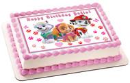 Paw Patrol Girls Edible Birthday Cake Topper OR Cupcake Topper, Decor