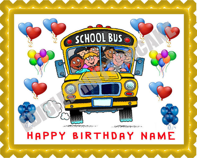 School Bus Edible Birthday Cake Topper