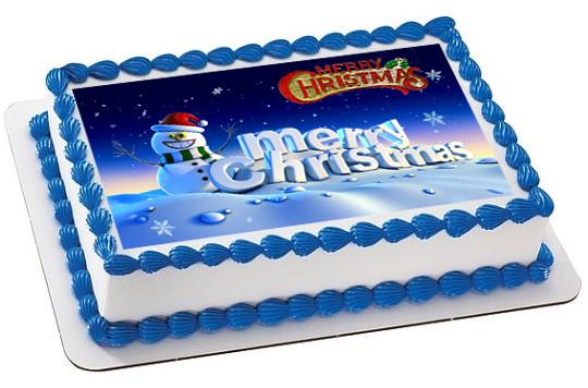 Edible Cake Decorations For Christmas : Christmas 3 Edible Birthday Cake Topper