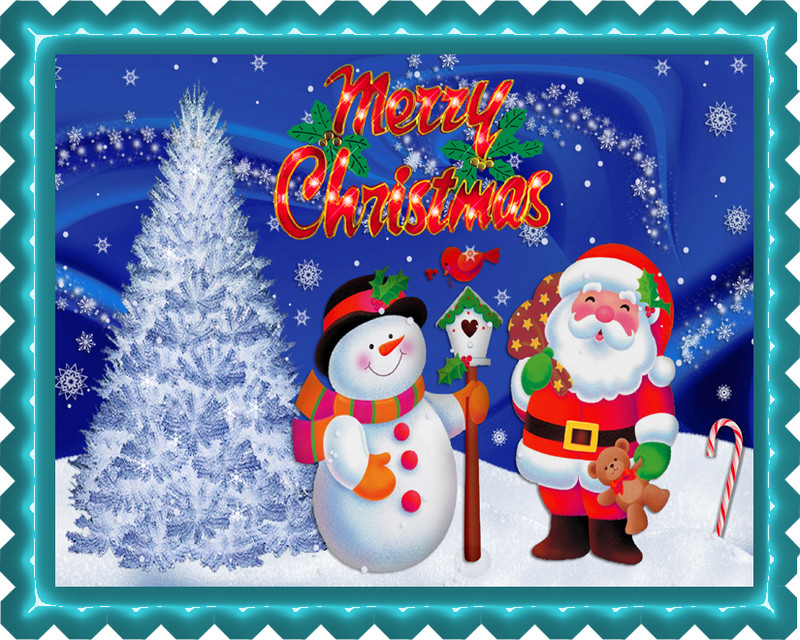 Edible Cake Decorations For Christmas : Christmas 8 Edible Birthday Cake Topper