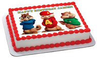 ALVIN AND THE CHIPMUNKS ROAD CHIP 2 Edible Birthday Cake Topper OR Cupcake Topper, Decor