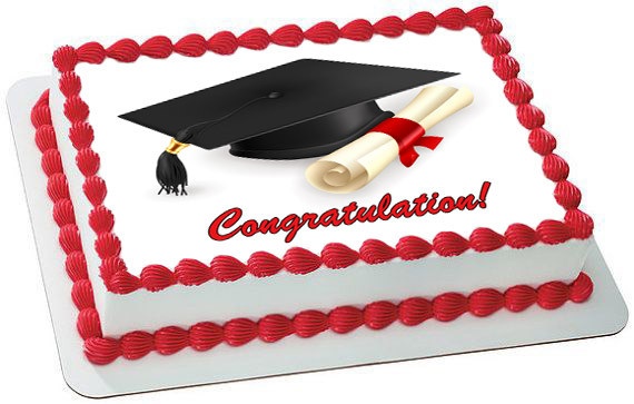 Edible Cake Images For Graduation : Graduation Edible Birthday Cake Topper