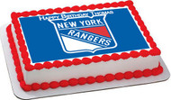 New York Rangerst Edible Birthday Cake Topper OR Cupcake Topper, Decor