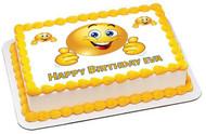 Smile Face Edible Birthday Cake Topper OR Cupcake Topper, Decor