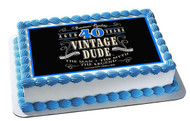 Vintage Dude 40th Edible Birthday Cake Topper OR Cupcake Topper, Decor
