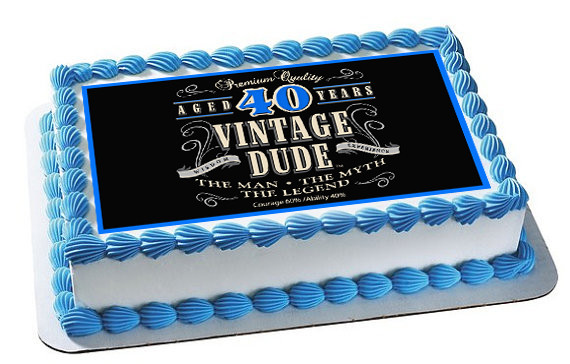 Vintage Dude 40th Green Edible Birthday Cake Topper