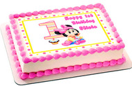 BABY MINNIE MOUSE 1st Birthday Edible Birthday Cake Topper OR Cupcake Topper, Decor