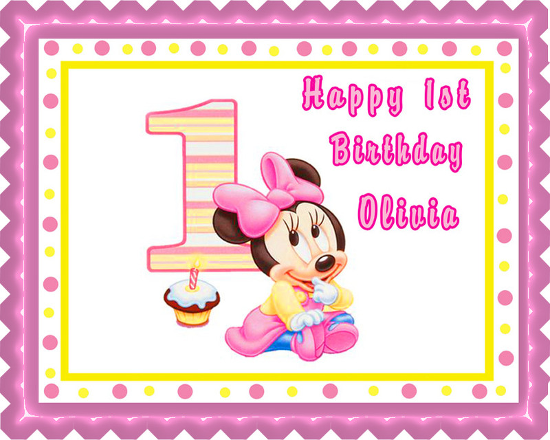 Baby Minnie Mouse 1st Birthday Edible Birthday Cake Topper