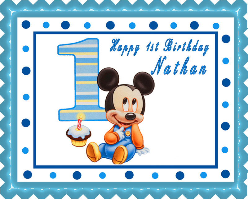 BABY MICKEY MOUSE 1st Birthday Edible Birthday Cake Topper