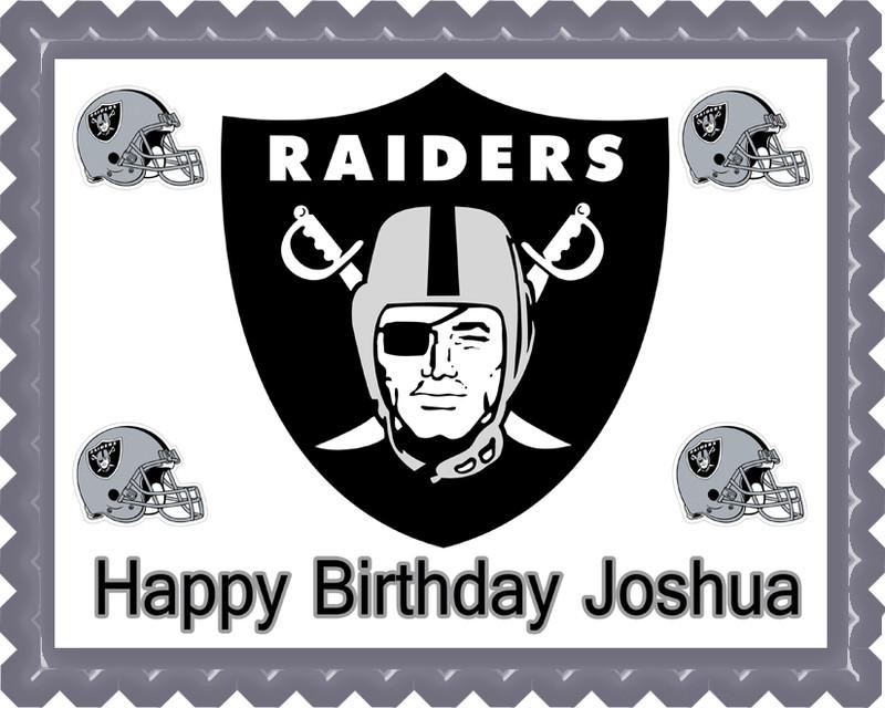 Oakland Raiders Edible Birthday Cake Topper