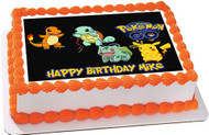 Pokemon Go 2 Edible Birthday Cake Topper OR Cupcake Topper, Decor