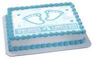 Blue Baby Feet Foot Edible  Edible Birthday Cake Topper OR Cupcake Topper, Decor