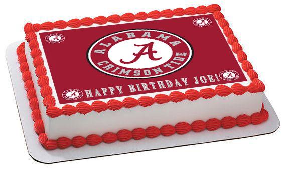 ALABAMA CRIMSON TIDE UNIVERSITY Edible Birthday Cake Topper