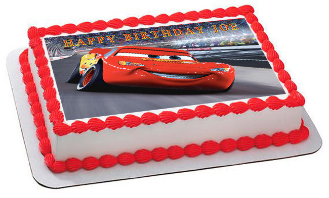 Edible Cake Images Cars : Disney Pixar Cars Lightning McQueen 2 Edible Birthday Cake ...