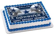 Dallas Cowboys 2 Edible Birthday Cake Topper OR Cupcake Topper, Decor