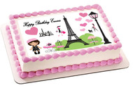 Paris Edible Birthday Cake Topper OR Cupcake Topper, Decor