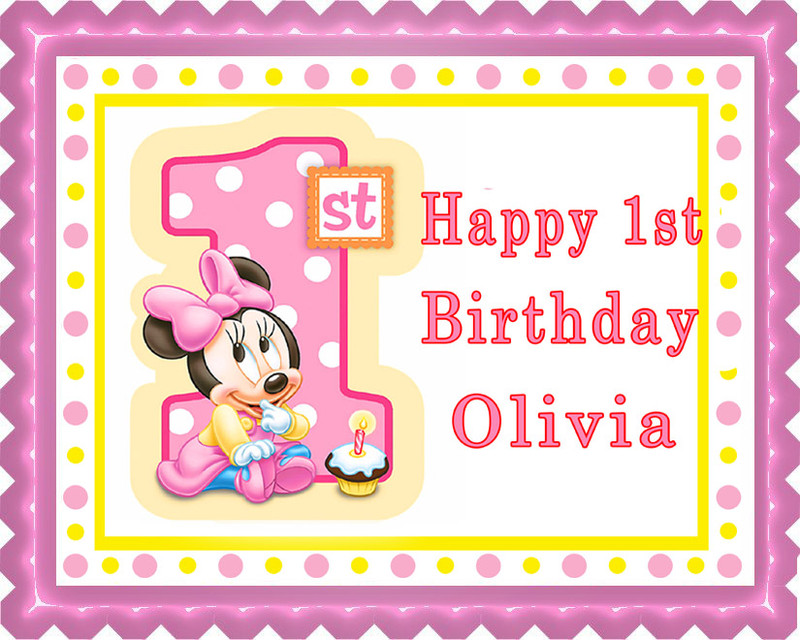 BABY MINNIE MOUSE 1st B Birthday Edible Birthday Cake Topper