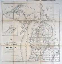 Rare Michigan Map: General Land Office. Sketch of the Public Surveys in Michigan. Department of the Interior, General Land Office, October 2nd 1866.