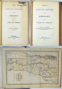 Rare Geology Book by Adams, Charles B. 1st and 2nd Annual Reports, Geology of Vermont.