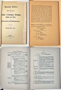 Rare Mineralogy Book: Senft, Karl Friedrich Ferdinand; Analytische Tabellen zur Bestimmung der Classen, Ordnungen, Gruppen, Sippen und Arten der Mineralien und Gebirgsarten. 1874