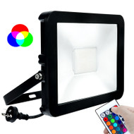 Brilliant Stealth 30w RGB LED Flood Light Black & Remote