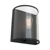 Mercator Liverpool 1lt Black & Clear Glass Wall Light