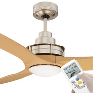 Mercator Flinders 140cm Brushed Chrome Ceiling Fan With LED Light & LCD Remote