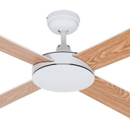 Mercator 130cm White Motor & Reversible Timber Blades Ceiling Fan