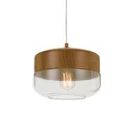 Telbix Bruno 25 Hanging Pendant Oak/Glass