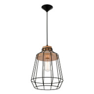 Mercator Petra Black Wire / Oak Hanging Pendant