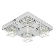 Mercator Jasmine 4lt Chrome & Glass Wall & Ceiling Light