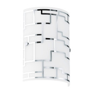 Eglo Bayman Frost & Chrome Pattern Glass Wall Light