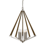 Telbix Graf Ashwood & Chrome 5lt Hanging Pendant