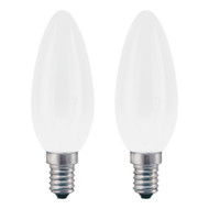 GE 40w E14 Incandescent Candle Frost TWIN PACK Suit Touch Lamps