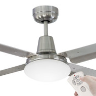 Mercator Swift 130cm B/Chrome & 304 S/S Fan With Light & Remote