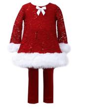 Bonnie Jean Girls Red Christmas Lace Velvet Santa Dress Legging ...