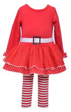 Bonnie Jean Girls Christmas Holiday Red 2 pc Dress outfit