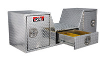 Brute fifth wheel toolbox features two rear swinging doors and one center drawer for maximum use of tailgate area