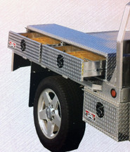 Shown mounted to the side of the flat bed with our single drawer underbody box (we have other under body boxes from which to choose).  Under body boxes must be ordered separately.
