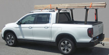 2017 Honda Ridgeline Ridge Rack 5 truck bed ladder rack shown in Model B, with silver crossbars & black legs, baseplates & end caps.  500 lb. load capacity.