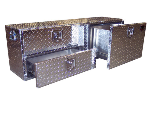 Diamond Plate Aluminum Utility Toolbox has two smaller drawers on the left and one larger/deeper drawer on the right and fits under tonneau covers, on flat beds & in some mini vans & SUV's.