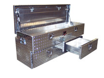 Diamond Plate Aluminum Chest Utility Toolbox has two lower storage drawers and a spacious top chest storage area with an offset lid.